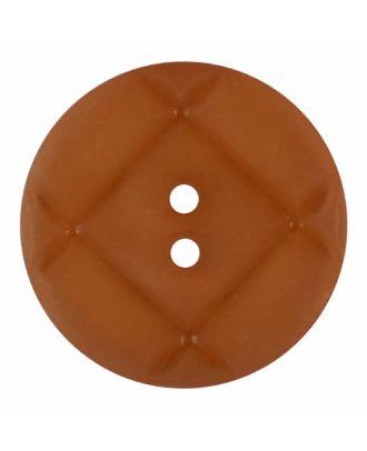 Plexiglasknopf rund mit matter Oberfläche und 2 Löchern - Größe: 23mm - Farbe: braun - Art.-Nr.: 346848