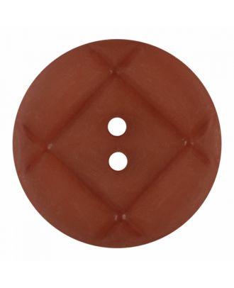 Plexiglasknopf rund mit matter Oberfläche und 2 Löchern - Größe: 23mm - Farbe: braun - Art.-Nr.: 346849