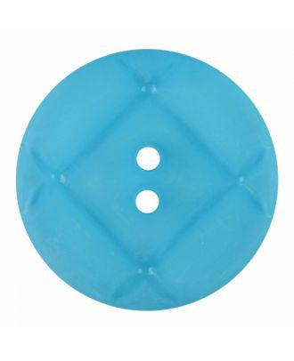 Plexiglasknopf rund mit matter Oberfläche und 2 Löchern - Größe: 23mm - Farbe: blau - Art.-Nr.: 346850
