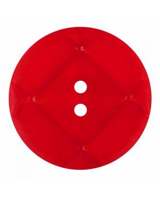 Plexiglasknopf rund mit matter Oberfläche und 2 Löchern - Größe: 23mm - Farbe: rot - Art.-Nr.: 346857