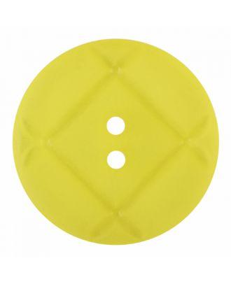 Plexiglasknopf rund mit matter Oberfläche und 2 Löchern - Größe: 28mm - Farbe: gelb - Art.-Nr.: 376834