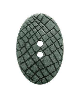 """Polyamidknopf oval im """"Vintage Look"""", mit feiner Struktur und 2 Löchern - Größe:  30mm - Farbe: grau - ArtNr.: 387800"""