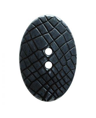 """Polyamidknopf oval im """"Vintage Look"""", mit feiner Struktur und 2 Löchern - Größe:  30mm - Farbe: schwarz - ArtNr.: 380416"""