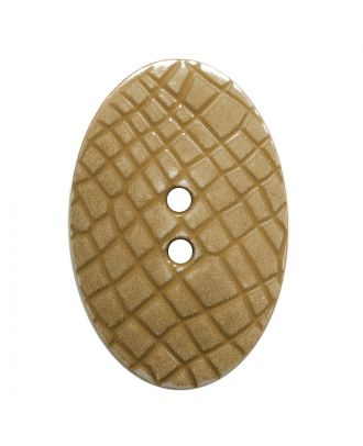"""Polyamidknopf oval im """"Vintage Look"""", mit feiner Struktur und 2 Löchern - Größe:  30mm - Farbe: beige - ArtNr.: 387801"""