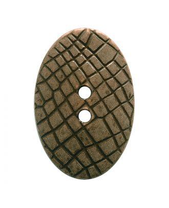 """Polyamidknopf oval im """"Vintage Look"""", mit feiner Struktur und 2 Löchern - Größe:  30mm - Farbe: dunkelbraun - ArtNr.: 387803"""