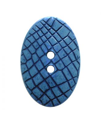 """Polyamidknopf oval im """"Vintage Look"""", mit feiner Struktur und 2 Löchern - Größe:  30mm - Farbe: blau - ArtNr.: 387805"""