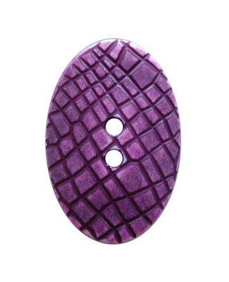 """Polyamidknopf oval im """"Vintage Look"""", mit feiner Struktur und 2 Löchern - Größe:  30mm - Farbe: lila - ArtNr.: 387807"""