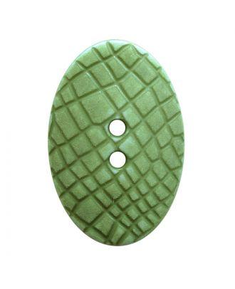 """Polyamidknopf oval im """"Vintage Look"""", mit feiner Struktur und 2 Löchern - Größe:  30mm - Farbe: hellgrün - ArtNr.: 387808"""