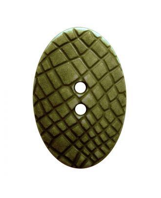 """Polyamidknopf oval im """"Vintage Look"""", mit feiner Struktur und 2 Löchern - Größe:  30mm - Farbe: khaki - ArtNr.: 387809"""