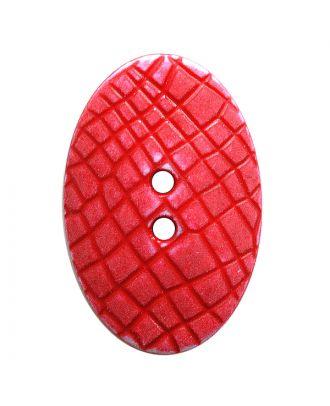 """Polyamidknopf oval im """"Vintage Look"""", mit feiner Struktur und 2 Löchern - Größe:  30mm - Farbe: rot - ArtNr.: 387810"""