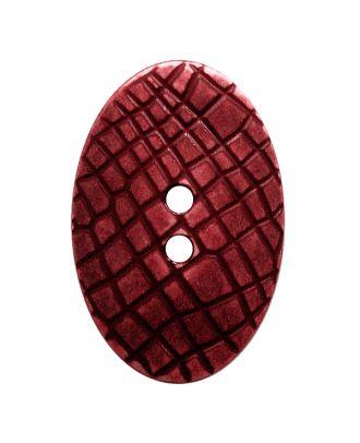 """Polyamidknopf oval im """"Vintage Look"""", mit feiner Struktur und 2 Löchern - Größe:  30mm - Farbe: weinrot - ArtNr.: 387811"""