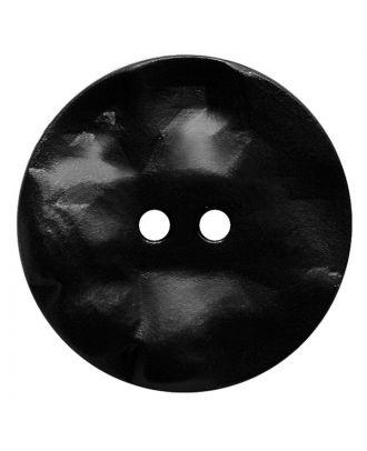 Polyamidknopf rund mit hügeliger Oberfläche und 2 Löchern - Größe:  30mm - Farbe: schwarz - ArtNr.: 380418