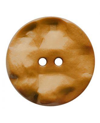 Polyamidknopf rund mit hügeliger Oberfläche und 2 Löchern - Größe:  30mm - Farbe: hellbraun - ArtNr.: 387813