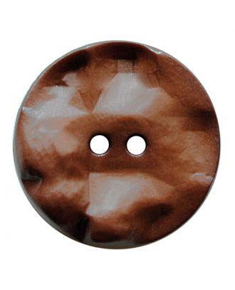 Polyamidknopf rund mit hügeliger Oberfläche und 2 Löchern - Größe:  30mm - Farbe: braun - ArtNr.: 387814
