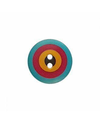 "Kaffe Fassett Knopf ""Target"", Polyamid runde Form 2-Loch - Größe: 20mm - Farbe: blau/rot/gelb/schwarz - Art.-Nr.: 300982"