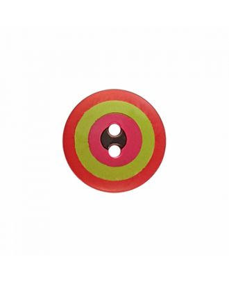 "Kaffe Fassett Knopf ""Target"", Polyamid runde Form 2-Loch - Größe: 20mm - Farbe: rot/grün/pink/schwarz - Art.-Nr.: 300984"
