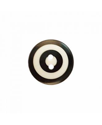 """Kaffe Fassett Knopf """"Target"""", Polyamid runde Form 2-Loch - Größe: 20mm - Farbe: weiß/schwarz - Art.-Nr.: 300981"""