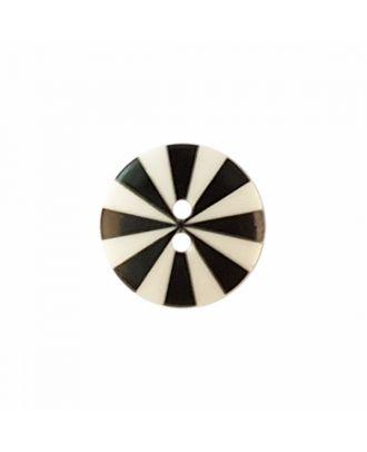 """Kaffe Fassett Knopf """"Radiate"""", Polyamid runde Form 2-Loch - Größe: 20mm - Farbe: schwarz/weiß - Art.-Nr.: 300985"""