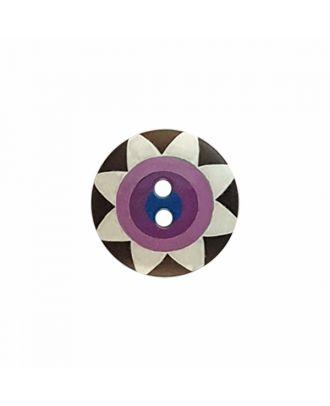"Kaffe Fassett Knopf ""Star Flower"", Polyamid runde Form 2-Loch - Größe: 20mm - Farbe: schwarz/weiß/lila/violet/marine - Art.-Nr.: 300989"