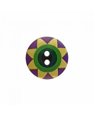 "Kaffe Fassett Knopf ""Star Flower"", Polyamid runde Form 2-Loch - Größe: 20mm - Farbe: violet/gelb/grün/dunkelgrün/schwarz - Art.-Nr.: 300990"