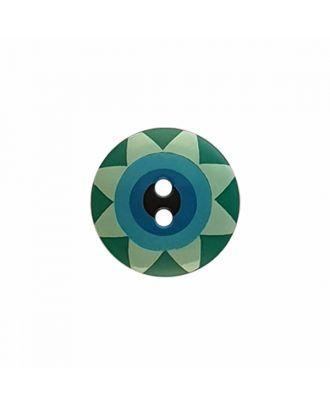 """Kaffe Fassett Knopf """"Star Flower"""", Polyamid runde Form 2-Loch - Größe: 15mm - Farbe: grün/hellgrün/hellblau/blau/schwarz - Art.-Nr.: 261403"""