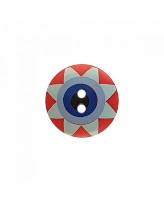 """Kaffe Fassett Knopf """"Star Flower"""", Polyamid runde Form 2-Loch - Größe: 15mm - Farbe: rot/hellblau/blau/marine/schwarz - Art.-Nr.: 261404"""