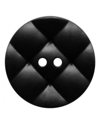 Polyamidknopf rund mit kissenförmiger Oberfläche und 2 Löchern - Größe:  28mm - Farbe: schwarz - ArtNr.: 370924