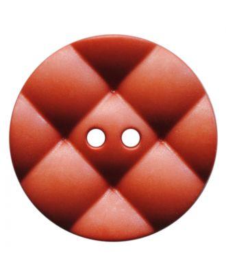 Polyamidknopf rund mit kissenförmiger Oberfläche und 2 Löchern - Größe:  28mm - Farbe: terrakotta - ArtNr.: 377814