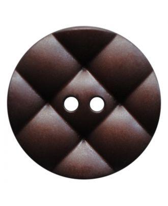 Polyamidknopf rund mit kissenförmiger Oberfläche und 2 Löchern - Größe:  28mm - Farbe: dunkelbraun - ArtNr.: 377815