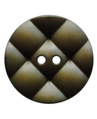 Polyamidknopf rund mit kissenförmiger Oberfläche und 2 Löchern - Größe:  28mm - Farbe: khaki - ArtNr.: 377820