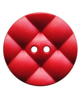 Polyamidknopf rund mit kissenförmiger Oberfläche und 2 Löchern - Größe:  28mm - Farbe: rot - ArtNr.: 377822