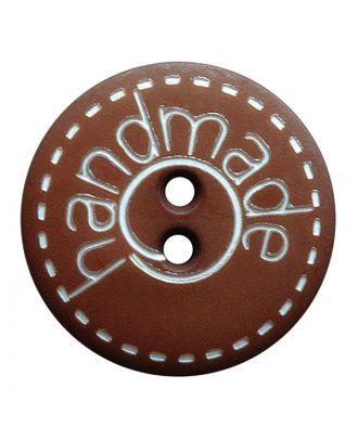 """Polyamidknopf rund in matter Optik mit """"handmade""""-Schriftzug und 2 Löchern - Größe:  15mm - Farbe: braun - ArtNr.: 241268"""