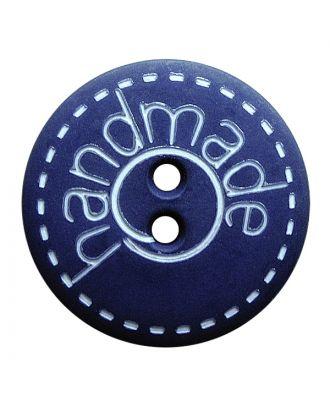 """Polyamidknopf rund in matter Optik mit """"handmade""""-Schriftzug und 2 Löchern - Größe:  23mm - Farbe: blau - ArtNr.: 281203"""