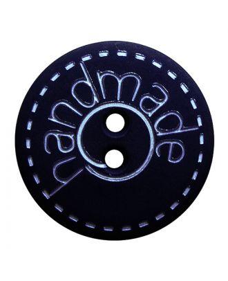 """Polyamidknopf rund in matter Optik mit """"handmade""""-Schriftzug und 2 Löchern - Größe:  18mm - Farbe: dunkelblau - ArtNr.: 261409"""