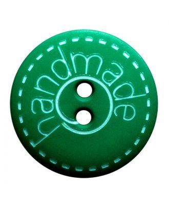 """Polyamidknopf rund in matter Optik mit """"handmade""""-Schriftzug und 2 Löchern - Größe:  23mm - Farbe: grün - ArtNr.: 281205"""