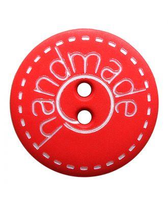"""Polyamidknopf rund in matter Optik mit """"handmade""""-Schriftzug und 2 Löchern - Größe:  23mm - Farbe: rot - ArtNr.: 281206"""