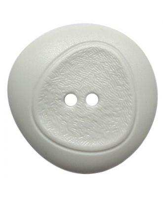 Polyamidknopf mit feiner Struktur und 2 Löchern - Größe:  28mm - Farbe: weiß - ArtNr.: 370925