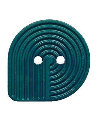 Polyamidknopf oval mit 2 Löchern - Größe:  32mm - Farbe: petrol - ArtNr.: 382013