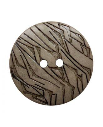 Polyamidknopf rund mit schwarzem Lack und 2 Löchern - Größe:  18mm - Farbe: beige - ArtNr.: 312021