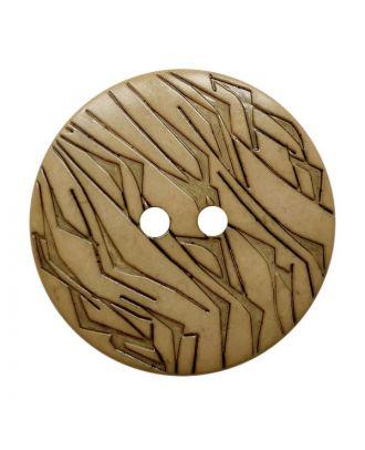 Polyamidknopf rund mit schwarzem Lack und 2 Löchern - Größe:  18mm - Farbe: beige - ArtNr.: 312022