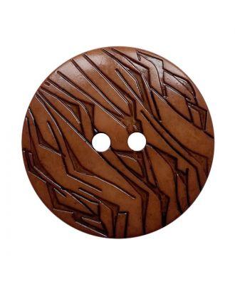 Polyamidknopf rund mit schwarzem Lack und 2 Löchern - Größe:  18mm - Farbe: braun - ArtNr.: 312023