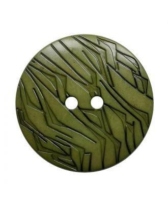 Polyamidknopf rund mit schwarzem Lack und 2 Löchern - Größe:  23mm - Farbe: khaki - ArtNr.: 342031