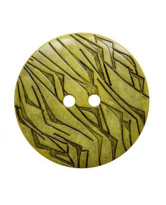 Polyamidknopf rund mit schwarzem Lack und 2 Löchern - Größe:  28mm - Farbe: gelb - ArtNr.: 372010