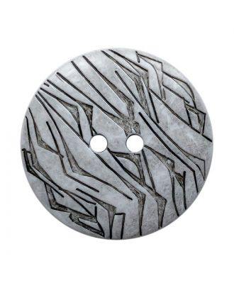 Polyamidknopf rund mit schwarzem Lack und 2 Löchern - Größe:  28mm - Farbe: weiß - ArtNr.: 370928