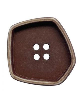 """Polyamidknopf quadratisch im """"Vintage Look"""" mit 4 Löchern - Größe:  20mm - Farbe: braun - ArtNr.: 332006"""