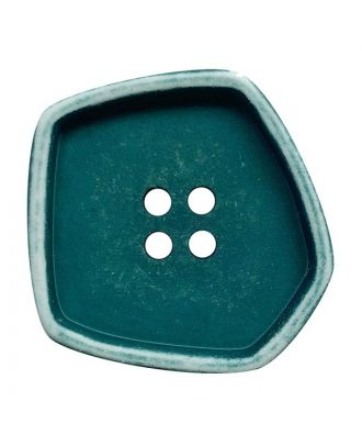 """Polyamidknopf quadratisch im """"Vintage Look"""" mit 4 Löchern - Größe:  30mm - Farbe: petrol - ArtNr.: 392006"""