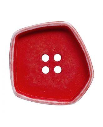 """Polyamidknopf quadratisch im """"Vintage Look"""" mit 4 Löchern - Größe:  30mm - Farbe: rot - ArtNr.: 392009"""