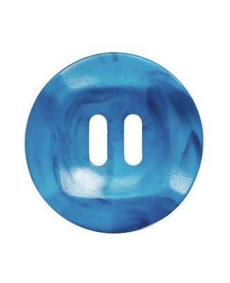 Polyamidknopf rund mamoriert mit 2 Löchern - Größe:  20mm - Farbe: blau - ArtNr.: 332018