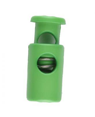 Kordelstopper rund mit Feder - Größe: 28mm - Farbe: grün - Art.Nr. 281075