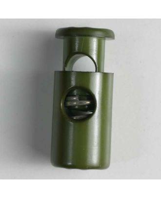 Kordelstopper rund mit Feder - Größe: 28mm - Farbe: dunkelgrün - Art.Nr. 280564